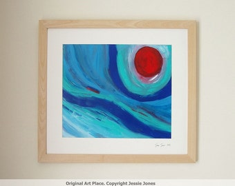 Framed original large abstract painting. Title: 'Moon Over The Sea.' by Jessie Jones. Handmade Ash Frame. Free Shipping.