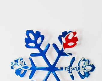 PAIR of Pepsi die-cut snowflakes Christmas ornament made from aluminum soda cans