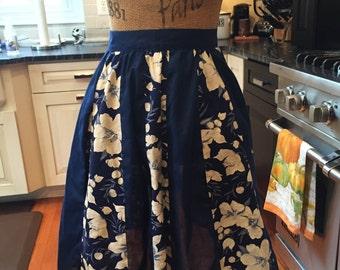 Vintage Navy Blue Floral Half Apron