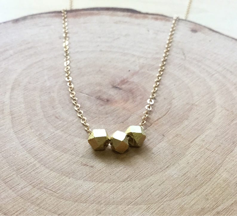 14k gold nugget pendant necklace minimalist dainty gold necklace layering jewelry simplicity gift for her adjustable Geometric bead