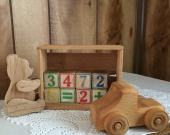 Wooden toy Set--wooden blocks, wooden truck, wooden bear, wooden crate