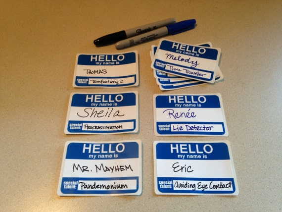 humorous printable party name tags blue avery layout etsy