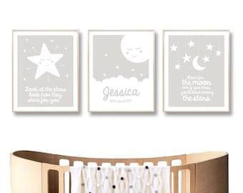 Personalised Name Nursery Print, Moon Stars Printable Art, Digital Printable Baby Wall Art Poster, Baby Girl Boy / INSTANT DOWNLOAD
