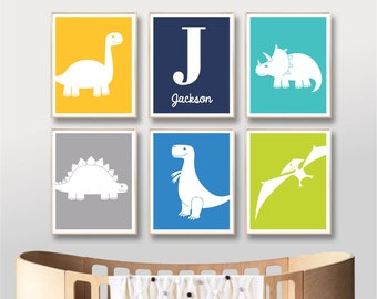 Dinosaur Printable Name Art Prints Dinosaurs Custom Name Nursery Art Digital Nursery Art Print Baby Boy Nursery Printable / INSTANT DOWNLOAD