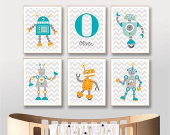 Robot Printable Name Art Prints , Robots Custom Name Nursery Art, Digital Nursery Art Print Baby Boy Nursery Printable / INSTANT DOWNLOAD