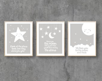 Nursery Print Moon Art, Digital Printable Star Wall Art Poster, Baby Girl Boy, Typographic, Love Quote  / INSTANT DOWNLOAD