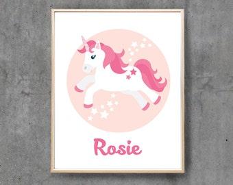 Unicorn Nursery Art Print, Printable Pink Unicorn Custom Name Print, Digital Girl Personalised Nursery decor, Baby birth print