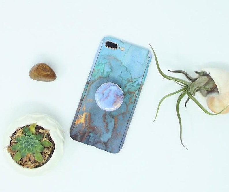 purchase cheap 186a5 700c8 Blue jade marble Agate case and pop socket Pop socket grip, phone holder  ,matching phone case and pop phone holder, iphone 8 plus iphone x