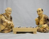 Antique hand carved Japanese resin netsuke chess go players circa 1950s retired unused