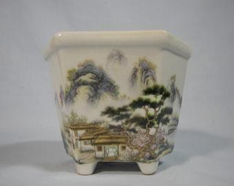 Vintage porcelain flower bonsai cactus  pot bas relief cherry blossoms mid 1900s