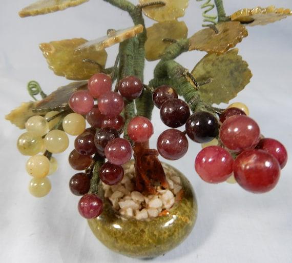 Vintage jade /& agate grape vine marble pot 30 Years Old u