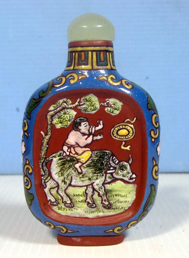 Antique hand crafted Yixing Zisha snuff bottle boy farmer buffalo Qing Period