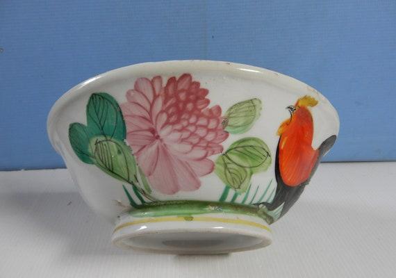 Antique Chinese porcelain bowl cockerel motif circa 1930 to 1950