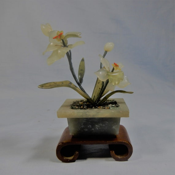 Antique hand carved jade stone flower potted circa 1950s retired seldom seen