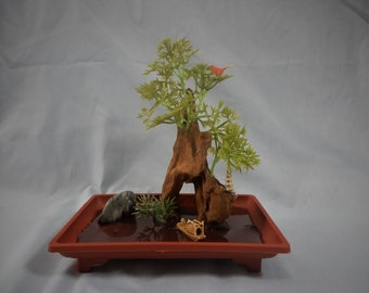 Bonsai diorama penjing hand crafted by seller artificial landscape bonsai tree driftwood ceramic boat pagoda water OOAK