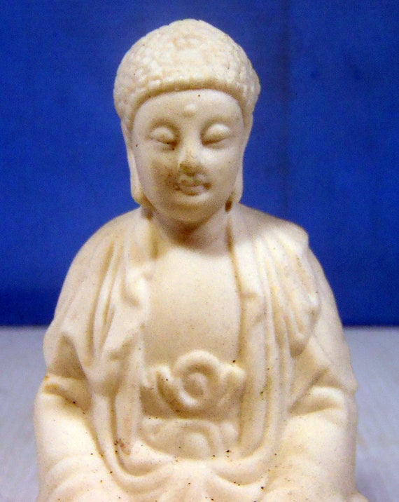 Vintage Blanc de Chine statue porcelain Buddha hand crafted retired circa mid 1900s