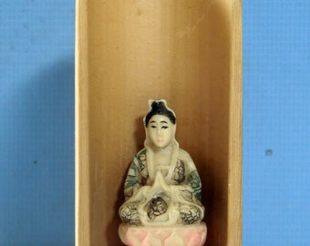 Kwan Yin Buddha statue on bamboo shrine unused OOAK