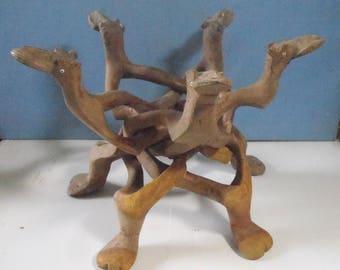 Vintage rare hand carved exotic wood display stand seldom seen