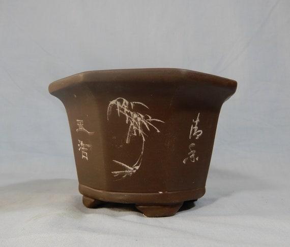 Antique Yixing Zisha bonsai pot carved 4 seasons flowers signed retired c.1950s