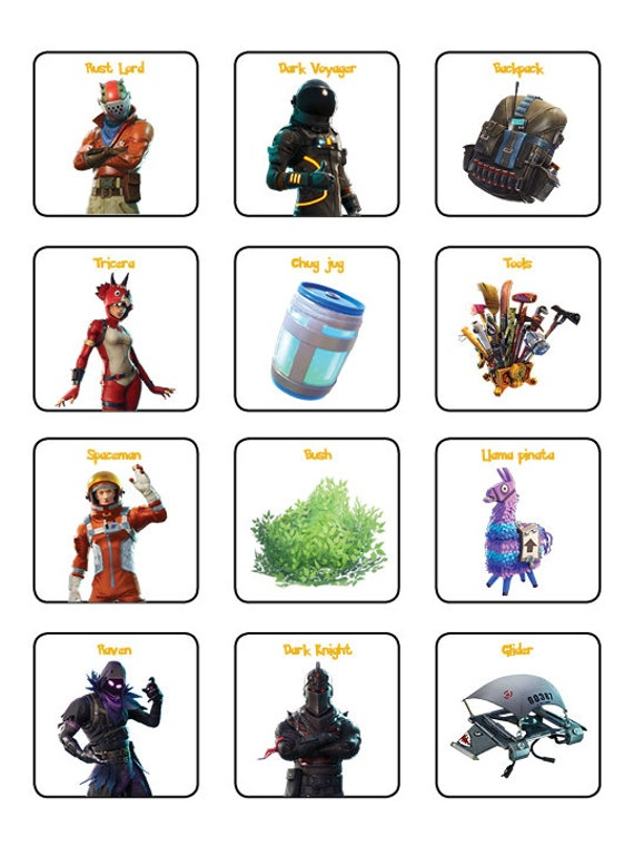 Fortnite Bingo Cards 12 Unique Cards With Extra Large Etsy