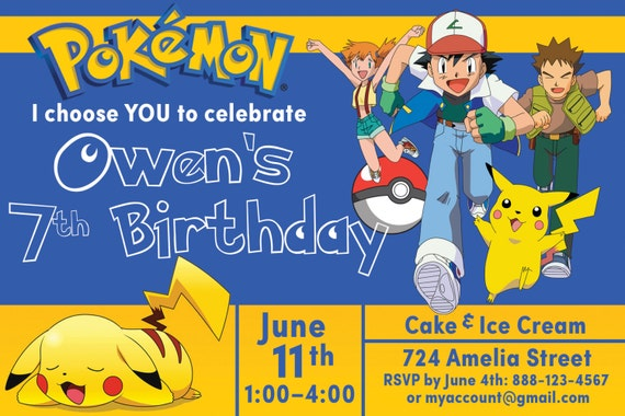 NEW Personalized Pokemon Birthday Party Invitations Instant