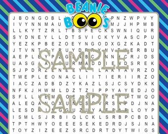 Beanie BOO Printable Word Search ~ Digital download ~ Beanie BOO Birthday Party Game