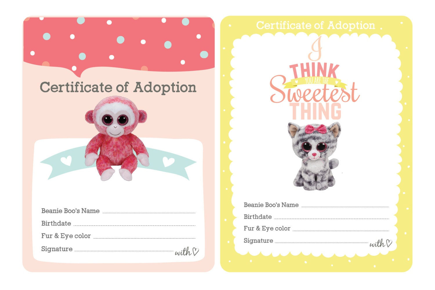 Certificate of Adoption Beanie Boo Birthday Party | Etsy