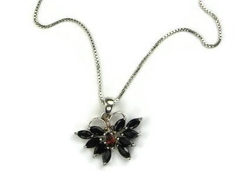 Sterling Silver Gemstone Butterfly Pendant Necklace