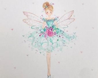 Lolli and Shell original Fairy art A5