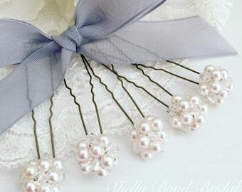 Bridal Pearl Elegance Hairpins x3