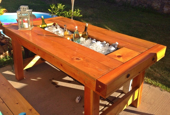 image 0 - Patio Table With Integrated Cooler Etsy