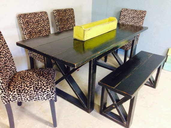 6 Foot Black Distressed Dining Table Includes One 4 Foot Etsy