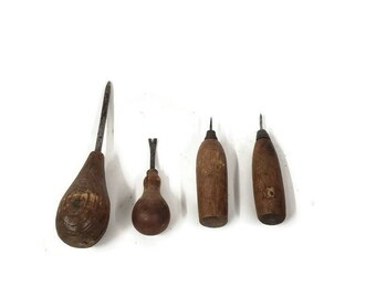 Punches and awls set of four hand tools carpentry tools antique woodworking