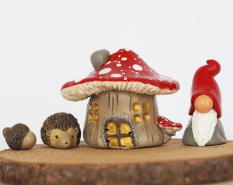 Fairy garden house set - Fairy garden accessories - Hedgehog - Acorn - Gnome miniatures - Clay mushroom house - Miniature garden accessories