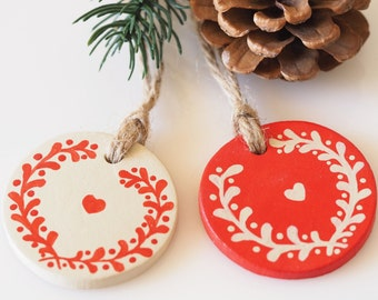 Scandinavian Christmas decorations -Set of 2 clay home ornaments -Nordic Christmas decor -Rustic Valentine decoration -Hand painted gift tag