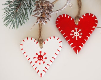 Scandinavian Christmas decorations -Set of 2 clay Valentines day gift -Hand painted rustic Christmas -Rustic Valentines idea -Gift tag