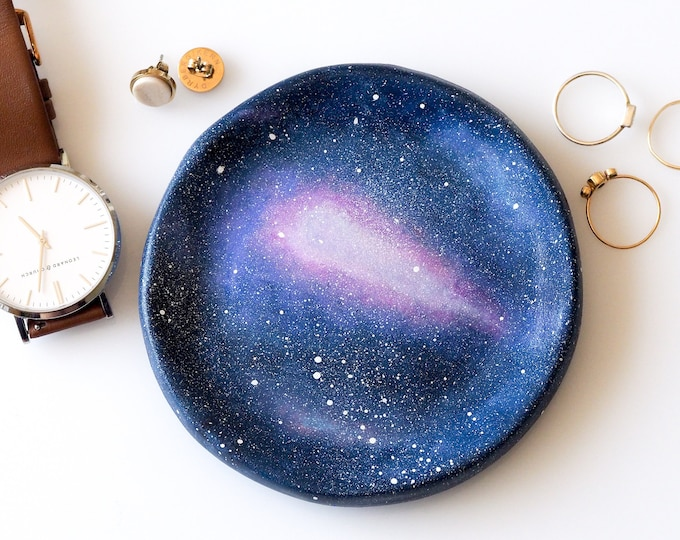 Featured listing image: Galaxy ring holder - Galaxy jewelry dish - Galaxy art - Galaxy gifts - Galaxy decor - Jewelry storage -Astronomy gifts -Space art -Ring dish