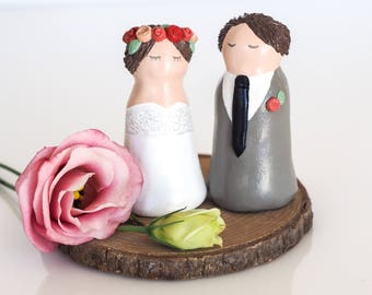 Wedding cake topper figurine - Mr and Mrs Cake topper - Bride and groom - Boho wedding - Personalized cake topper - Wedding figurines