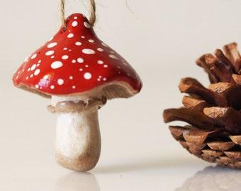Mushroom decor - Clay mushroom ornament - Mushroom Christmas ornament - Mushroom figurine - Woodland nursery decor - Hanging mushroom decor