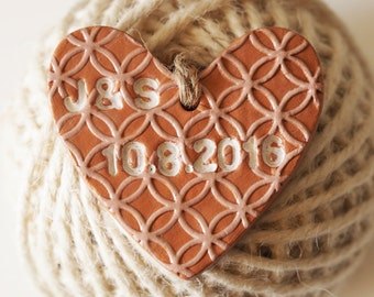 Personalized Christmas ornament - Personalized wedding favors - Clay heart save the date - Valentines gift - Rose gold wedding decor