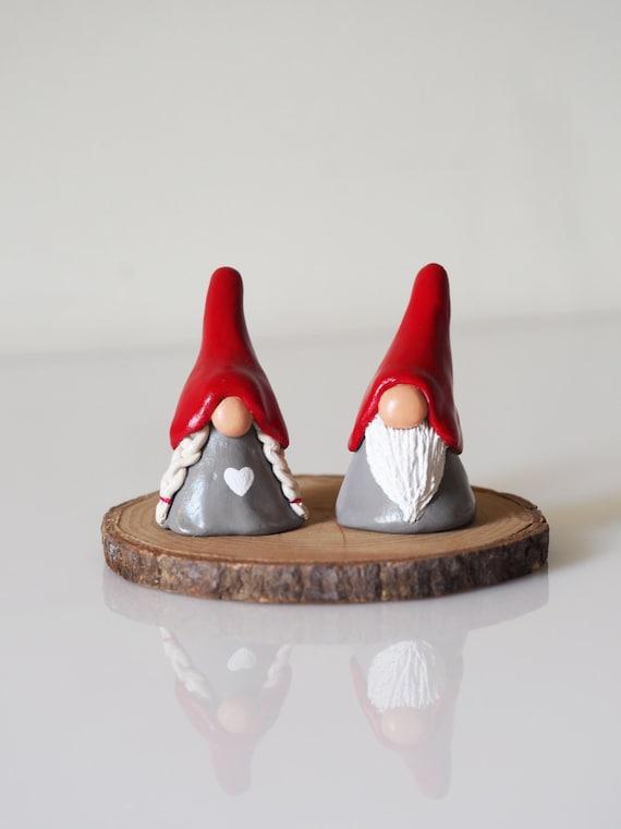 Christmas Gnomes.Gnome Figurines Two Christmas Gnomes Christmas Decorations Nordic Christmas Scandinavian Decor Tomte Clay Gnomes Scandi Decor