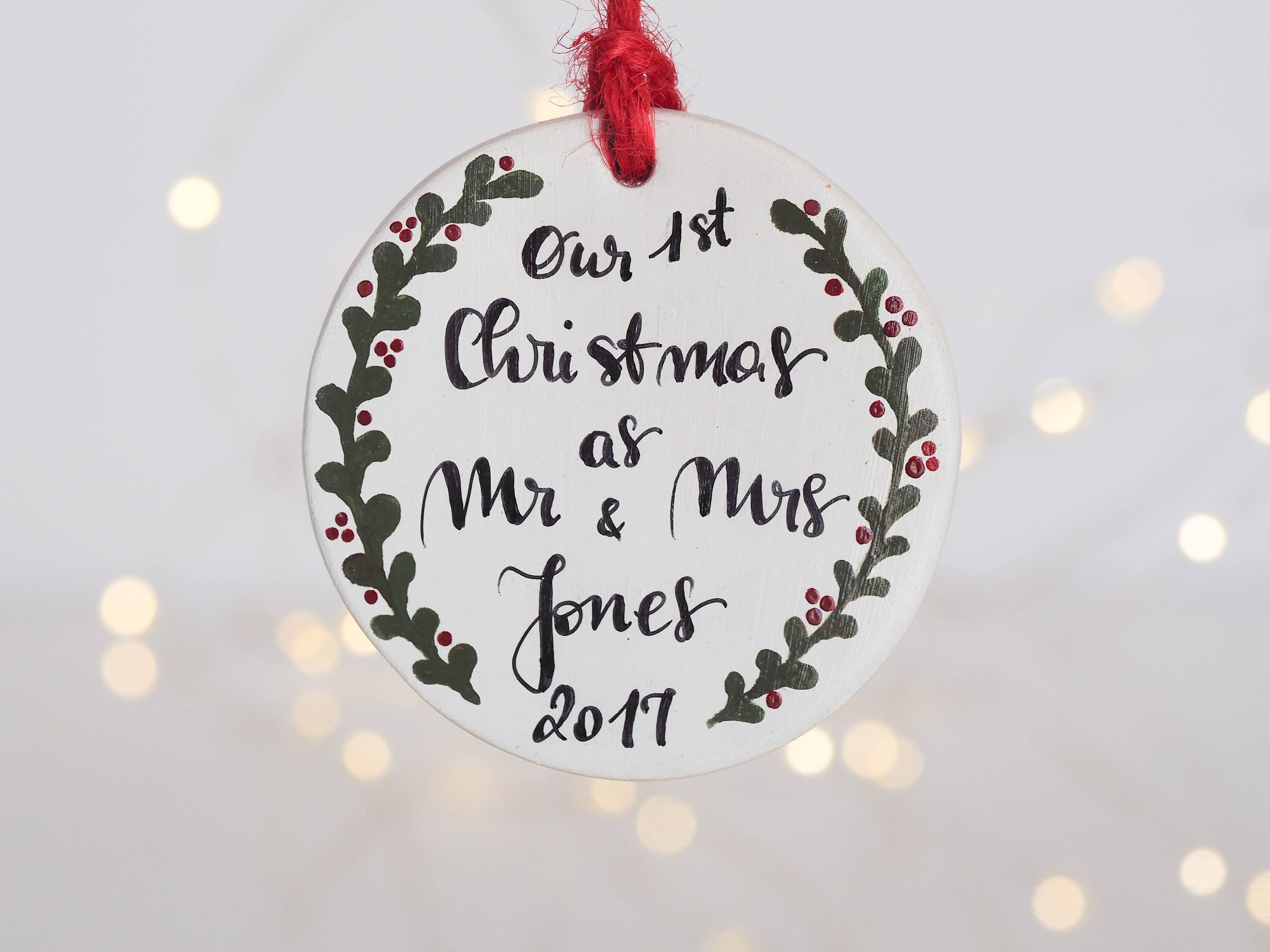 Christmas Ornament Wedding Gift: First Christmas Ornament Married