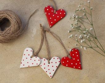 Polka dot hearts Valentines gift - Set of 2 rustic Christmas decorations -Valentines idea -Decorazione Natalizia a pois -Heart decorations