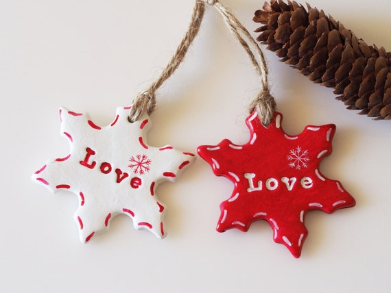 Scandinavian Christmas Ornaments Set Of 2 Clay Snowflake Decorations Love Sign Winter Wedding Favors Scandinavian Design Home Decor