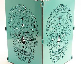 Sugar Skull, Baby Blue Sugar Skull Light Box, Candle, Candle Holder, Day Of the Dead, Dia De Los Muertos, Mexican Skull, Mexican Sugar Skull