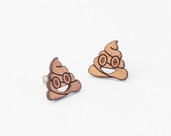 Emoji poop earrings, wooden stud earrings, poop stud earrings, laser cut jewellery, laser cut earrings, ice cream emoji, wooden jewelry