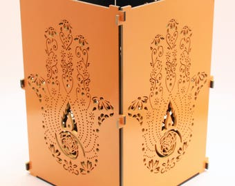 Hamsa Hand, Orange Hamsa Hand Light Box, Candle Box, Candle Holder, Hand Of Fatima, Hand Of Miriam, Khamsa, Humes Hand, Evil Eye, Chamsa