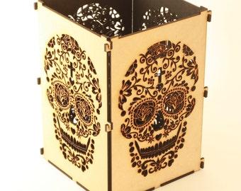 Sugar Skull, Natural Sugar Skull Light Box, Candle Box, Candle Holder, Day Of the Dead, Dia De Los Muertos, Mexican Sugar Skull