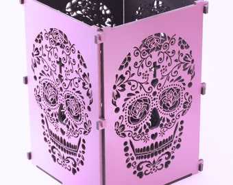 Sugar Skull, Purple Sugar Skull Light Box, Candle Box, Candle Holder, Day Of the Dead, Dia De Los Muertos, Mexican Sugar Skull