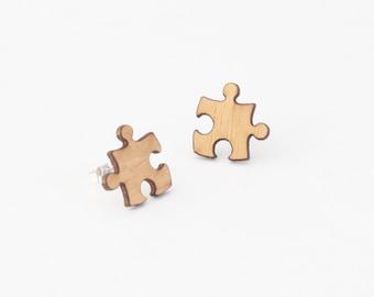Jigsaw earrings, wooden stud earrings, jigsaw stud earrings, laser cut jewellery, laser cut earrings, jigsaw piece, wooden jewelry
